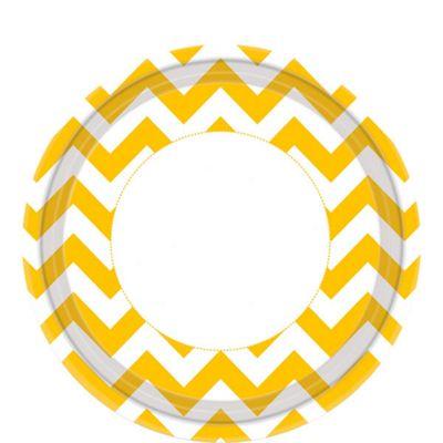 Yellow Chevron Plates - 23cm Paper Party Plates
