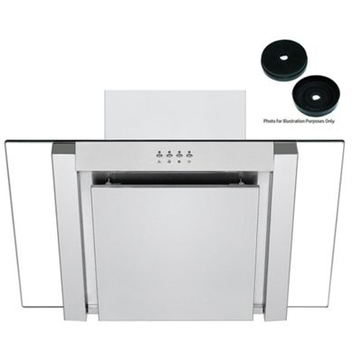 Cookology ANG705SS Designer Extractor Fan | 70cm Angled Glass Chimney Cooker Hood in Stainless Steel & Carbon Filters