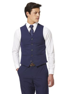 F&F Regular Fit Waistcoat Blue 52 Chest regular length