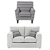 Hardy Accent Chair + 2 Seater Sofa Set, Grey