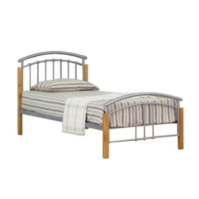 Comfy Living 3ft Single Metal and Wood Headboard Detail Bed Frame in Silver