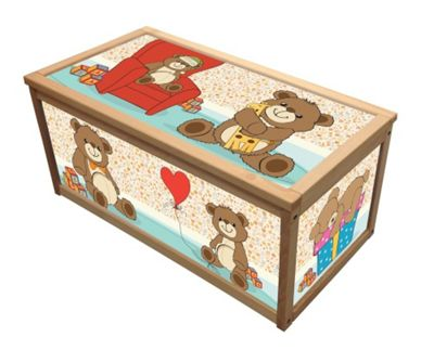 Wooden Toy Box Storage Box for Kids Children - Teddy