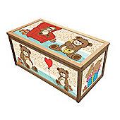 Wooden Toy Box Storage Box for Kids Children - Teddy