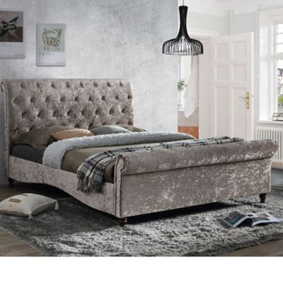 Happy Beds Brighton Crushed Velvet Fabric Scroll Sleigh Bed with Open Coil Spring Mattress - Oyster - 4ft6 Double