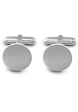 Jewelco London Rhodium Coated Sterling Silver Round Disc T-shape Cufflinks - Gents