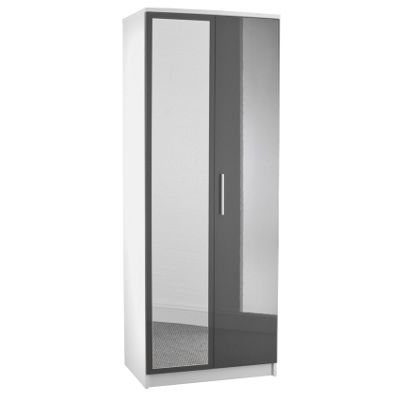 Chester 2 Door Mirrored Wardrobe - Grey On White