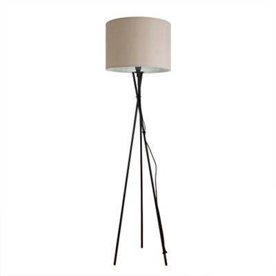 Camden Tripod Floor Lamp, Gloss Black & Beige Rolla Shade