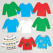 Christmas Jumper Bunting for Children to Make Decorate and Hang - Make Your Own Creative Xmas Party Hanging Decoration (Pack of 20)