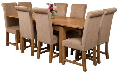 Richmond medium Extending Solid Oak Dining Set Table & 8 Beige Fabric Chairs