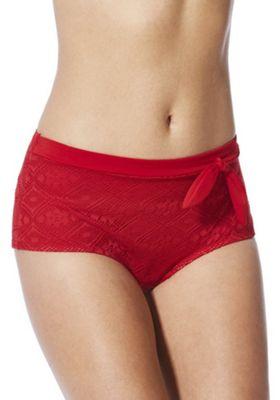 Marie Meili Curves Crochet High Waist Bikini Briefs 10 Red