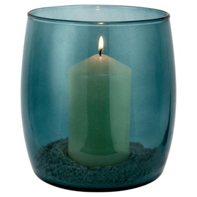 Tesco Hurricane Teal coloured vase with candle