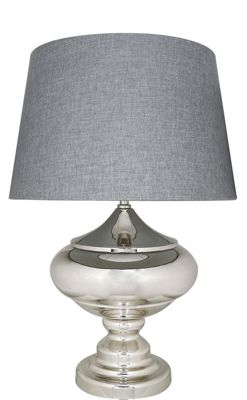 Silver Chrome Glass Statement Table Lamp With 19 Inch Grey Shade