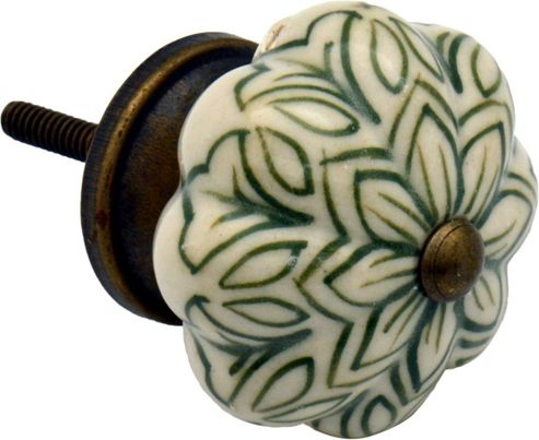 Ceramic Cupboard Drawer Knob - Vintage Flower Design - Olive Green