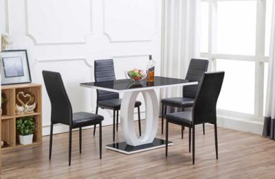 Giovani Black/White High Gloss Glass Dining Table and 4 Black Montero Chairs & Buy Giovani Black/White High Gloss Glass Dining Table and 4 Black ...