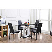 Giovani Black/White High Gloss Glass Dining Table and 4 Black Montero Chairs