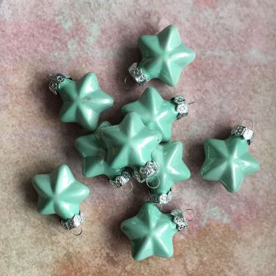 Aqua Blue Glass Star Baubles - Set of Nine