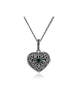 Gemondo Silver Necklace, Sterling Silver Emerald & Marcasite May Birthstone Heart Locket Necklace