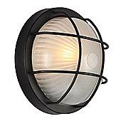 Matt Black Aluminium Outdoor Circular Bulkhead Wall/Ceiling Light