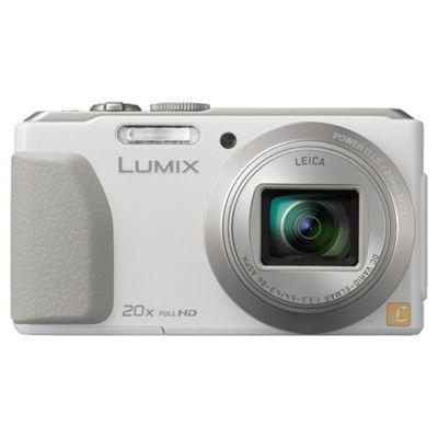 Panasonic Lumix TZ40 Digital Camera, White, 18MP, 20x Optical Zoom, 3