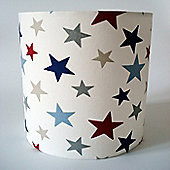 Star, Medium Fabric Lampshade / Lightshade Red Blue Grey Stars