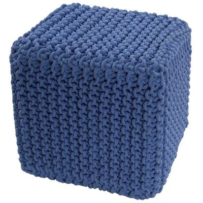 Homescapes Cotton Blue Knitted Cube Footstool