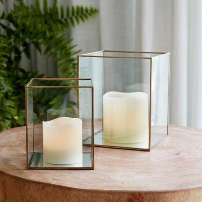 Set of 2 Brass Terrarium Lanterns with LED Candles