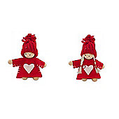 Pair Of Red Mini Nordic Christmas Tree Decorations