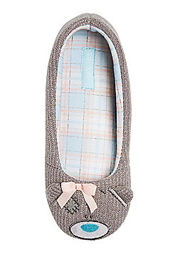 Me To You Tatty Teddy Knitted Ballerina Slippers - Grey