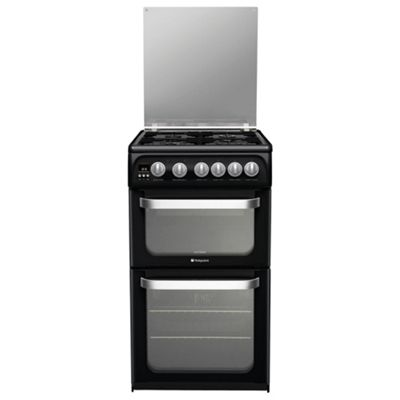 Hotpoint Ultima Gas Cooker with Gas Grill and Gas Hob, HUG52K - Black