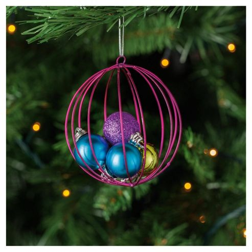 Tesco Bright Glittered Bauble Hanging Decoration