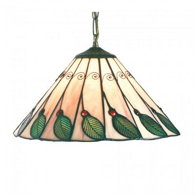 14 inch Green Leaf Shade with AB1 Antique brass Suspension Chain
