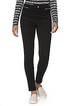 F&F Zip Detail Skinny Twill Trousers - Black
