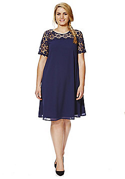 Lovedrobe Crochet Lace Yoke Plus Size Swing Dress - Navy