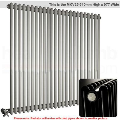 DQ Heating BKV25 White Vertical Tubed Radiator 610mm High x 860mm Wide (22 sections)