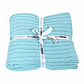 Homescapes Cotton Cable Knit Pastel Blue Throw, 130 x 170 cm