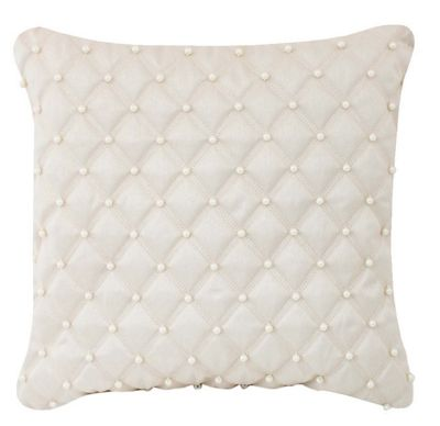 Ivory Pearl Studded Cushion Quilted Comfy Stylish