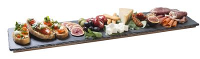 Occasion Extra Large Slate Serving Platter Restaurant Quality Food Tray with Wooden Base 60x15cm