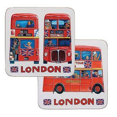 Churchill James Sadler London Tour Bus Coasters, 10cm, Set of 4