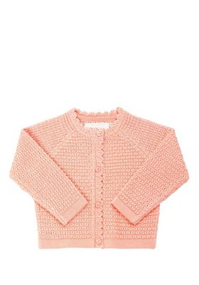 F&F Scallop Cardigan Neon Coral 9-12 months