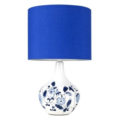 MiniSun Traditional Chinese Dianthus LED Ceramic Table Lamp - Blue Shade