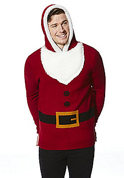 F&F Santa Claus Hooded Christmas Jumper - Red