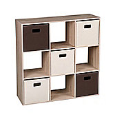 9-Cube Organizer/Bookshelf/Storage Cabinet With 5 Canvas Bins-Oak