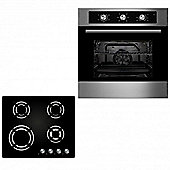Oven & Hob Pack COF600SS GGH600BK | Cookology 60cm Single Built-in Electric Fan Oven & Gas-on-Glass Hob Kitchen Pack
