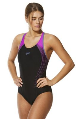Speedo Fit Laneback Swimsuit Black/Purple 8