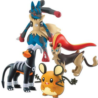 Pokemon XY 4 Figure Gift Pack - Mega Lucario & Female Pyroar & Dedenne & Houndoom