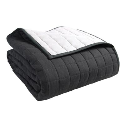 Homescapes Cotton Quilted Reversible Bedspread Black & Grey, 150 x 200 cm