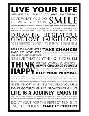 Live Your Life Gloss Black Framed Dream Big Poster
