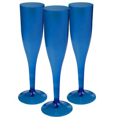 Royal Blue Plastic Champagne Glasses - 162ml - 20 Pack