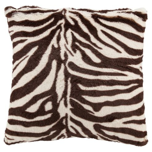 Tesco zebra faux fur cushion chocolate