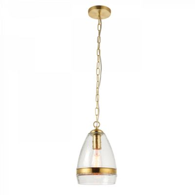 Clear Textured Glass & Polished Brass Effect Plate 1lt Pendant 40W